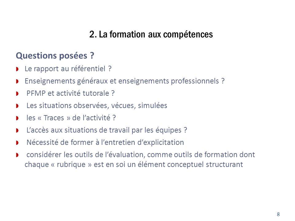 2. La formation aux compétences Questions posées ? Le rapport au référentiel ? Enseignements généraux et enseignements professionnels ? PFMP et activi