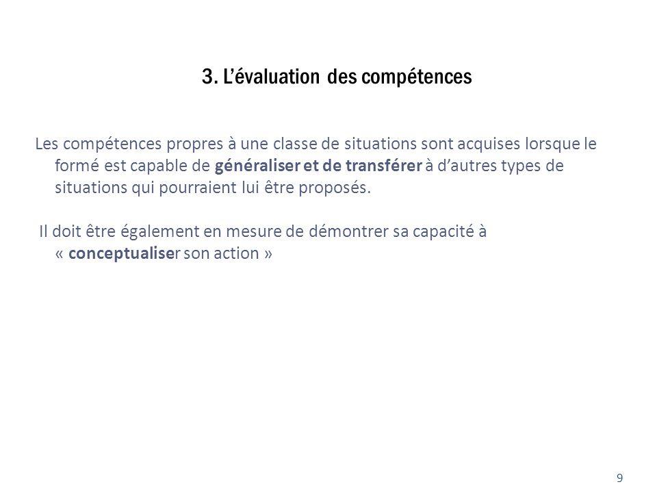 3. Lévaluation des compétences Les compétences propres à une classe de situations sont acquises lorsque le formé est capable de généraliser et de tran