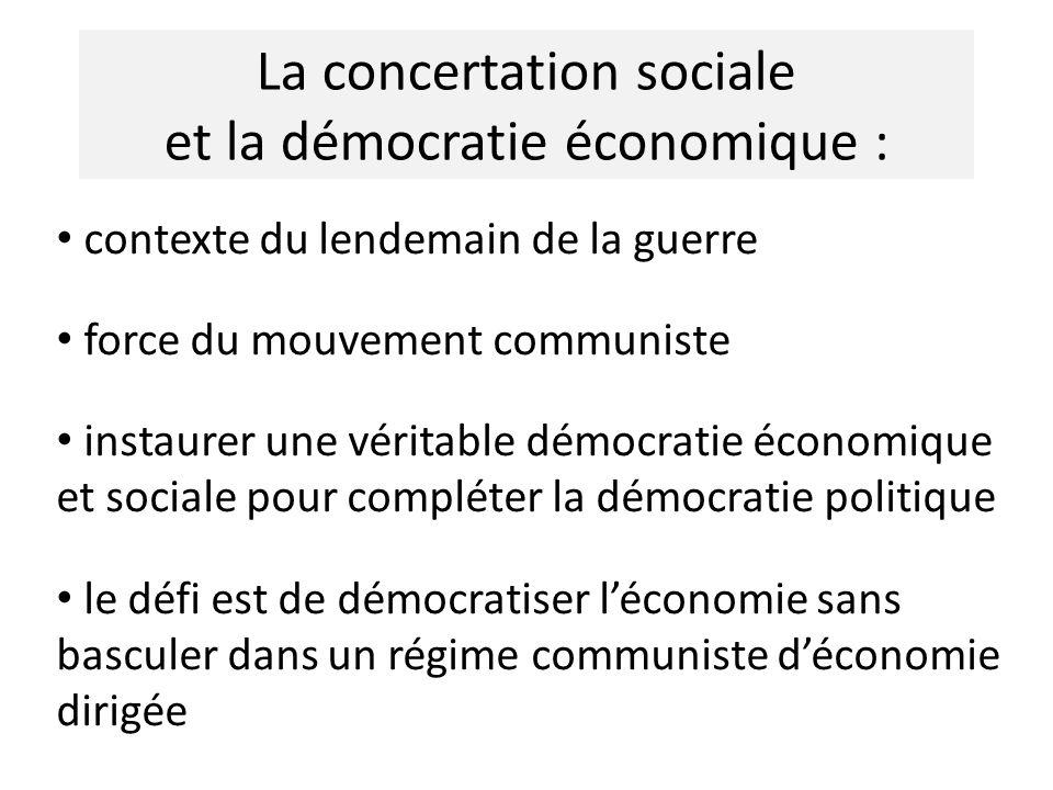 La concertation sociale et la démocratie économique : contexte du lendemain de la guerre force du mouvement communiste instaurer une véritable démocratie économique et sociale pour compléter la démocratie politique le défi est de démocratiser léconomie sans basculer dans un régime communiste déconomie dirigée