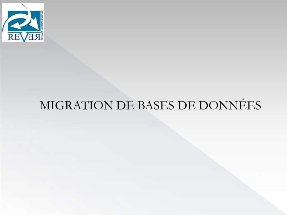 MIGRATION DE BASES DE DONNÉES