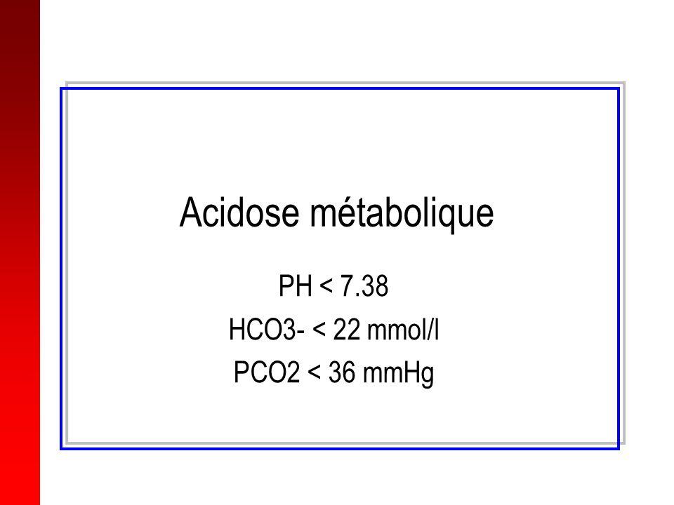 Acidose métabolique PH < 7.38 HCO3- < 22 mmol/l PCO2 < 36 mmHg