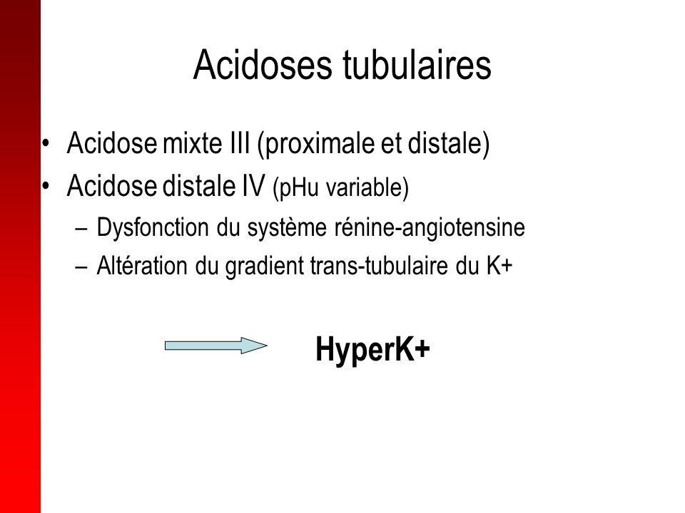 Acidoses tubulaires Acidose mixte III (proximale et distale) Acidose distale IV (pHu variable) –Dysfonction du système rénine-angiotensine –Altération