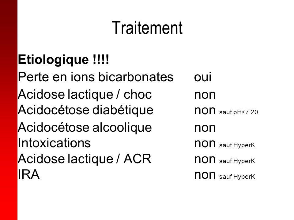 Traitement Etiologique !!!! Perte en ions bicarbonatesoui Acidose lactique / chocnon Acidocétose diabétiquenon sauf pH<7.20 Acidocétose alcooliquenon