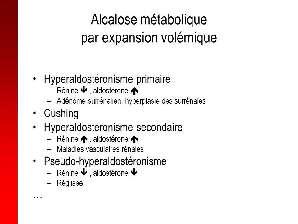 Alcalose métabolique par expansion volémique Hyperaldostéronisme primaire –Rénine, aldostérone –Adénome surrénalien, hyperplasie des surrénales Cushin
