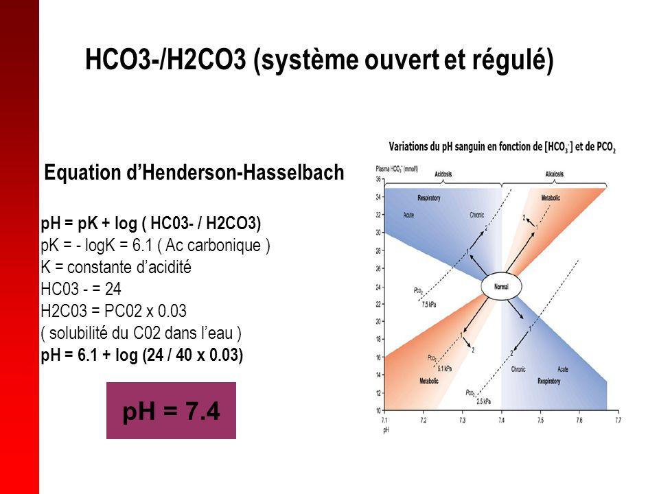 HCO3-/H2CO3 (système ouvert et régulé) Equation dHenderson-Hasselbach pH = pK + log ( HC03- / H2CO3) pK = - logK = 6.1 ( Ac carbonique ) K = constante