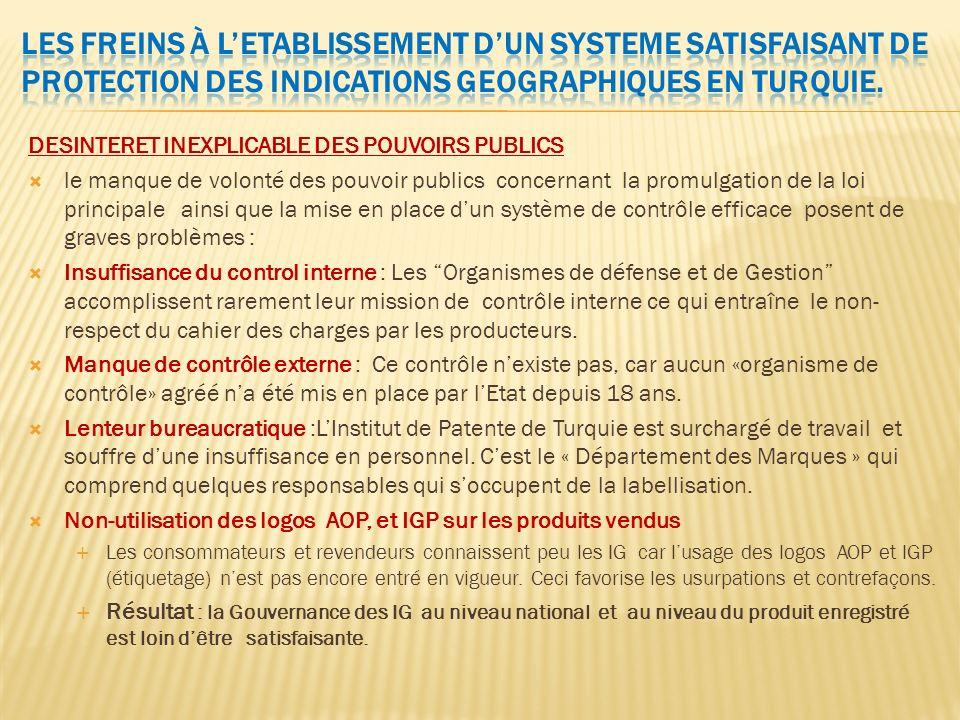 DESINTERET INEXPLICABLE DES POUVOIRS PUBLICS le manque de volonté des pouvoir publics concernant la promulgation de la loi principale ainsi que la mis