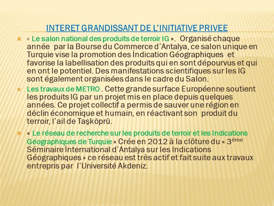 INTERET GRANDISSANT DE LINITIATIVE PRIVEE « Le salon national des produits de terroir IG ». Organisé chaque année par la Bourse du Commerce dAntalya,