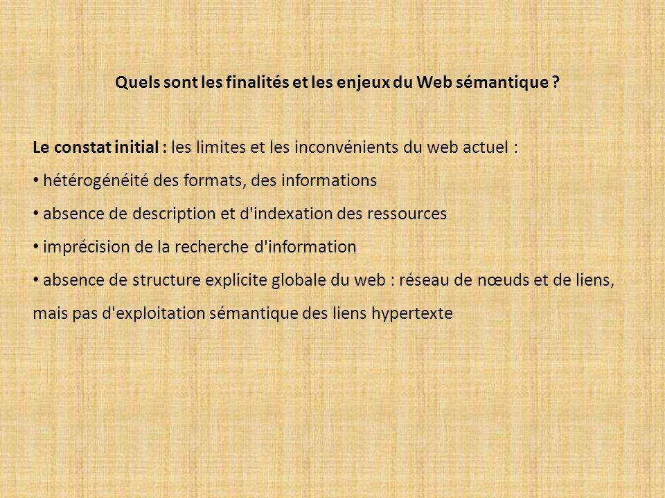 Quels sont les finalités et les enjeux du Web sémantique ? Le constat initial : les limites et les inconvénients du web actuel : hétérogénéité des for