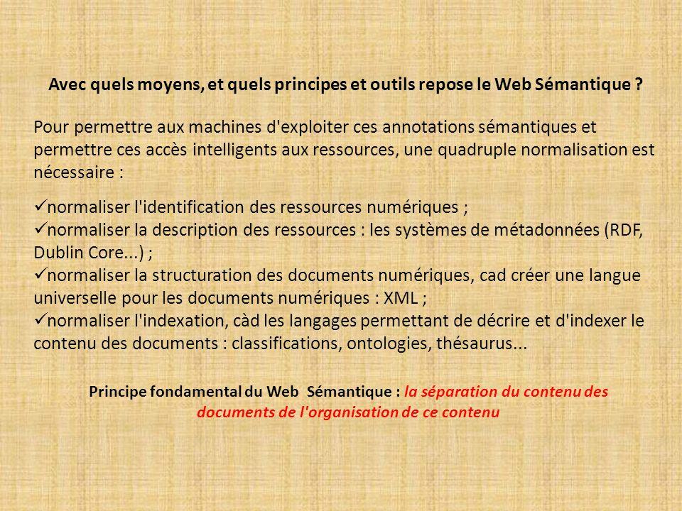 Avec quels moyens, et quels principes et outils repose le Web Sémantique ? Pour permettre aux machines d'exploiter ces annotations sémantiques et perm