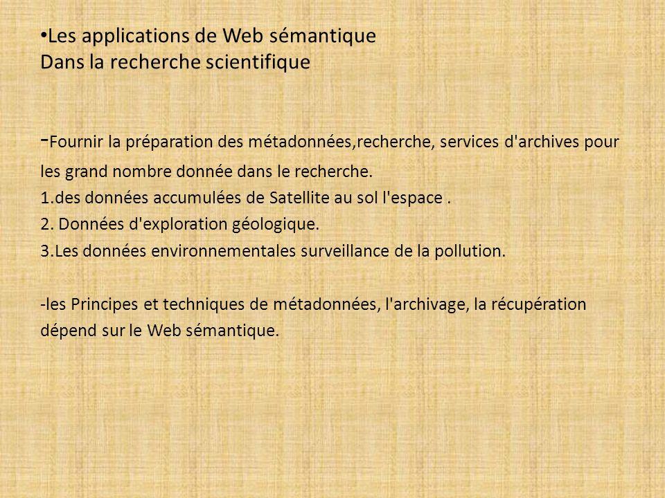 Les applications de Web sémantique Dans la recherche scientifique - Fournir la préparation des métadonnées,recherche, services d'archives pour les gra