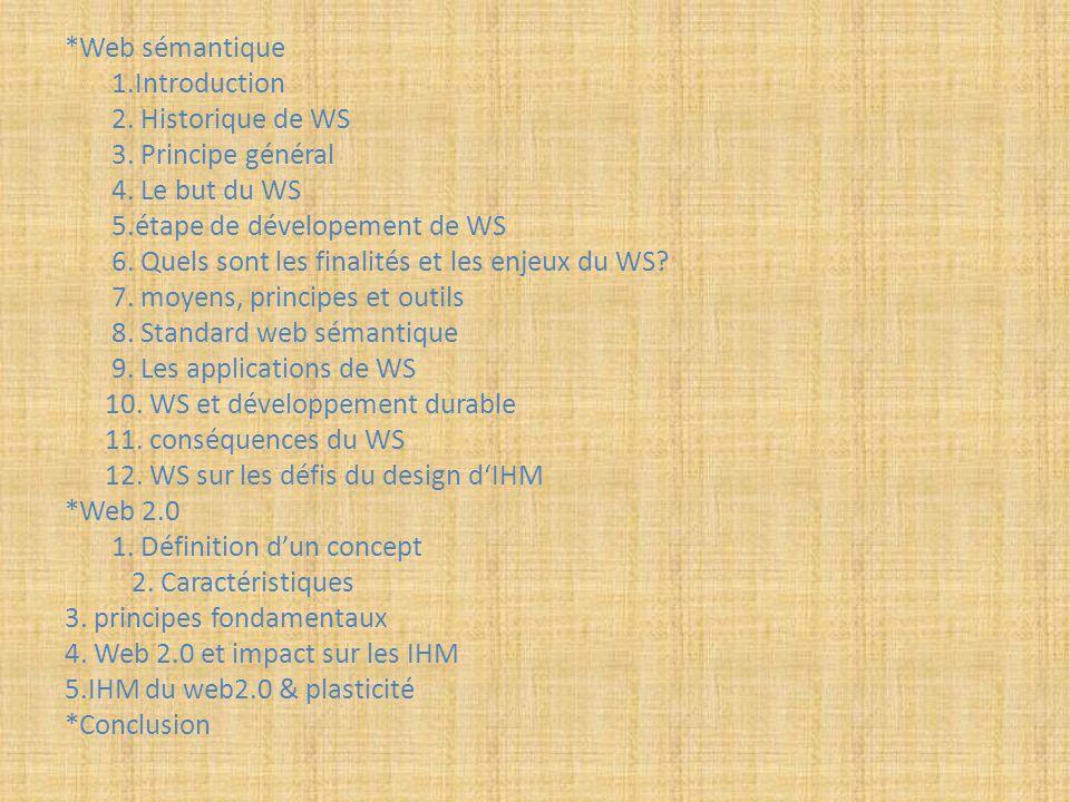 *Web sémantique 1.Introduction 2. Historique de WS 3. Principe général 4. Le but du WS 5.étape de dévelopement de WS 6. Quels sont les finalités et le