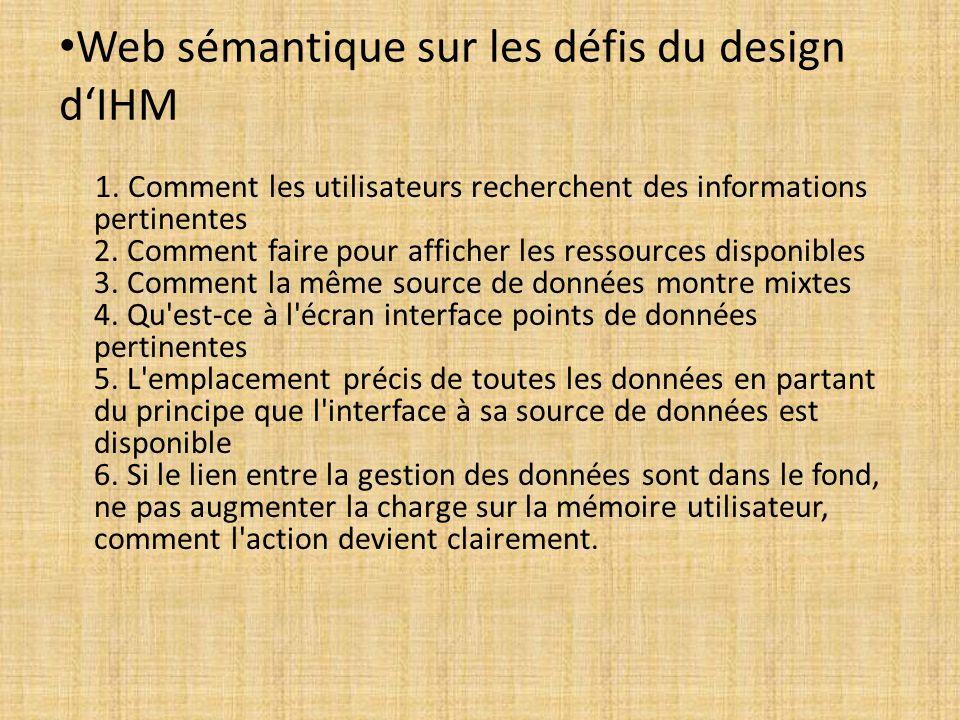 Web sémantique sur les défis du design dIHM 1. Comment les utilisateurs recherchent des informations pertinentes 2. Comment faire pour afficher les re