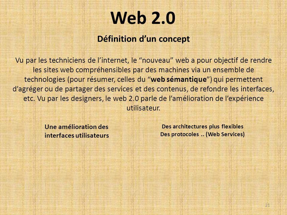 Web 2.0 Vu par les techniciens de linternet, le nouveau web a pour objectif de rendre les sites web compréhensibles par des machines via un ensemble d