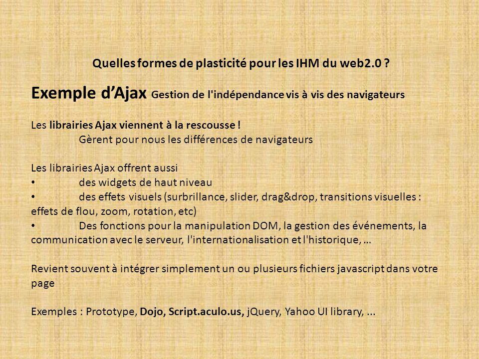 Quelles formes de plasticité pour les IHM du web2.0 ? Exemple dAjax Gestion de l'indépendance vis à vis des navigateurs Les librairies Ajax viennent à