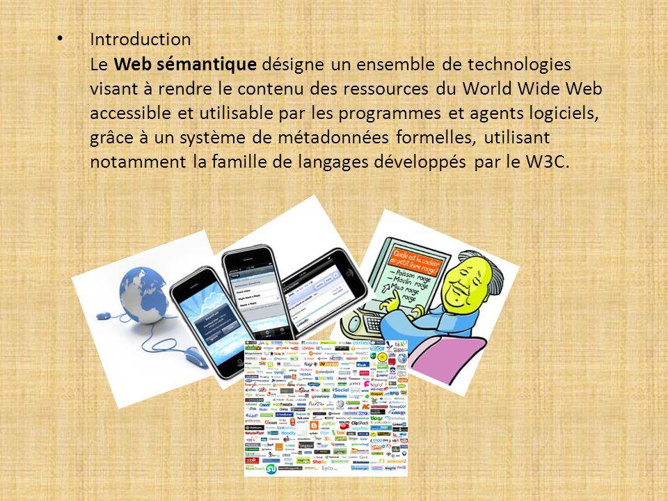 Introduction Le Web sémantique désigne un ensemble de technologies visant à rendre le contenu des ressources du World Wide Web accessible et utilisabl