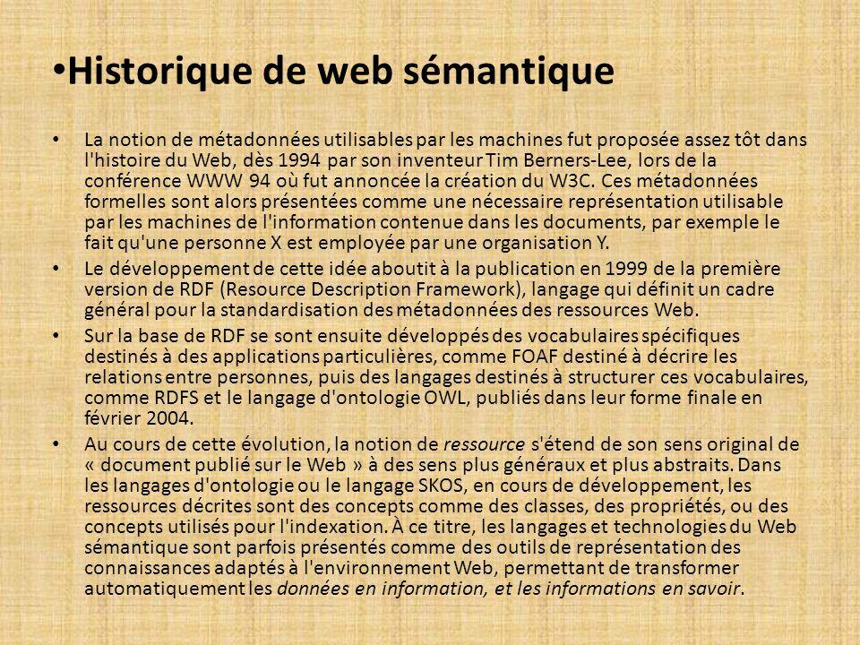 Historique de web sémantique La notion de métadonnées utilisables par les machines fut proposée assez tôt dans l'histoire du Web, dès 1994 par son inv