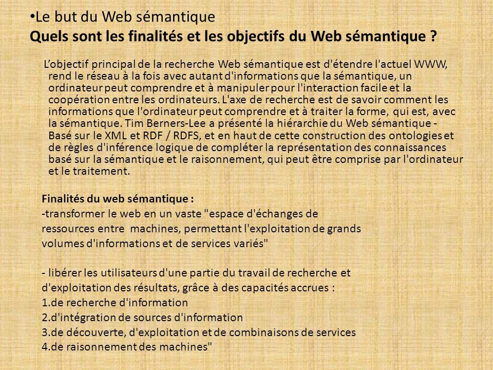 Le but du Web sémantique Quels sont les finalités et les objectifs du Web sémantique ? Lobjectif principal de la recherche Web sémantique est d'étendr