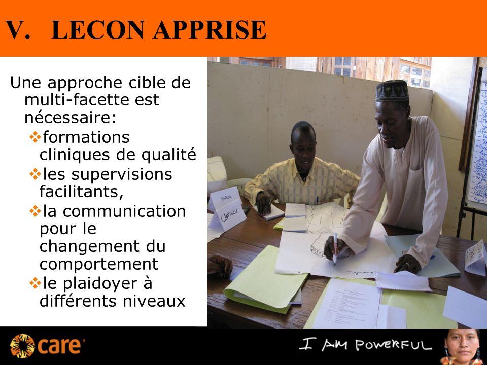 V.LECON APPRISE Une approche cible de multi-facette est nécessaire: formations cliniques de qualité les supervisions facilitants, la communication pou