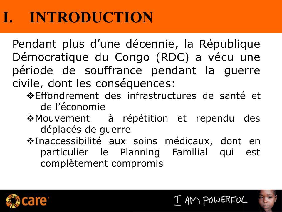 I.INTRODUCTION Pendant plus dune décennie, la République Démocratique du Congo (RDC) a vécu une période de souffrance pendant la guerre civile, dont l