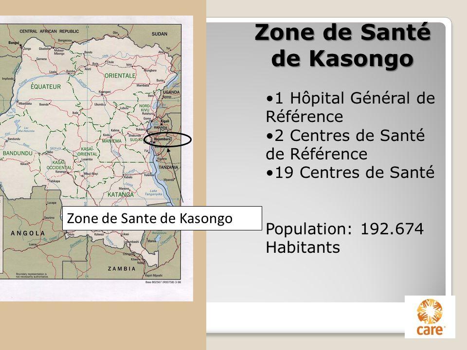 Zone de Sante de Kasongo 1 Hôpital Général de Référence 2 Centres de Santé de Référence 19 Centres de Santé Population: 192.674 Habitants Zone de Sant