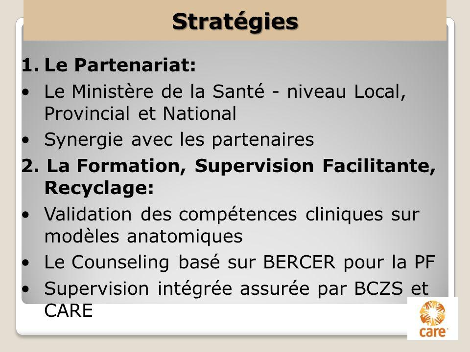Stratégies 1.Le Partenariat: Le Ministère de la Santé - niveau Local, Provincial et National Synergie avec les partenaires 2. La Formation, Supervisio