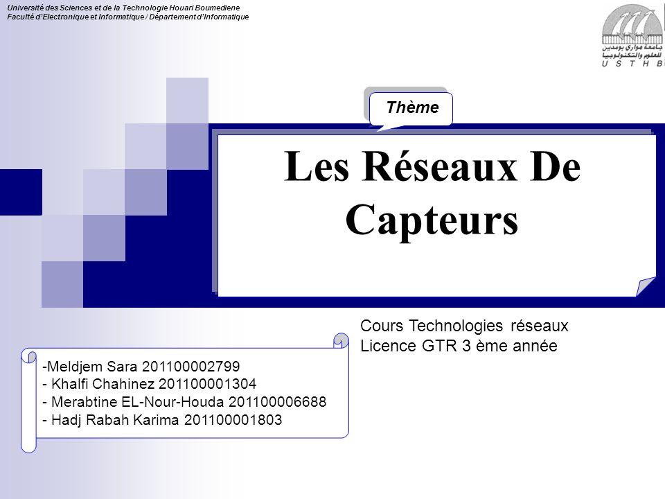 Cours Technologies réseaux Licence GTR 3 ème année Université des Sciences et de la Technologie Houari Boumediene Faculté dElectronique et Informatiqu