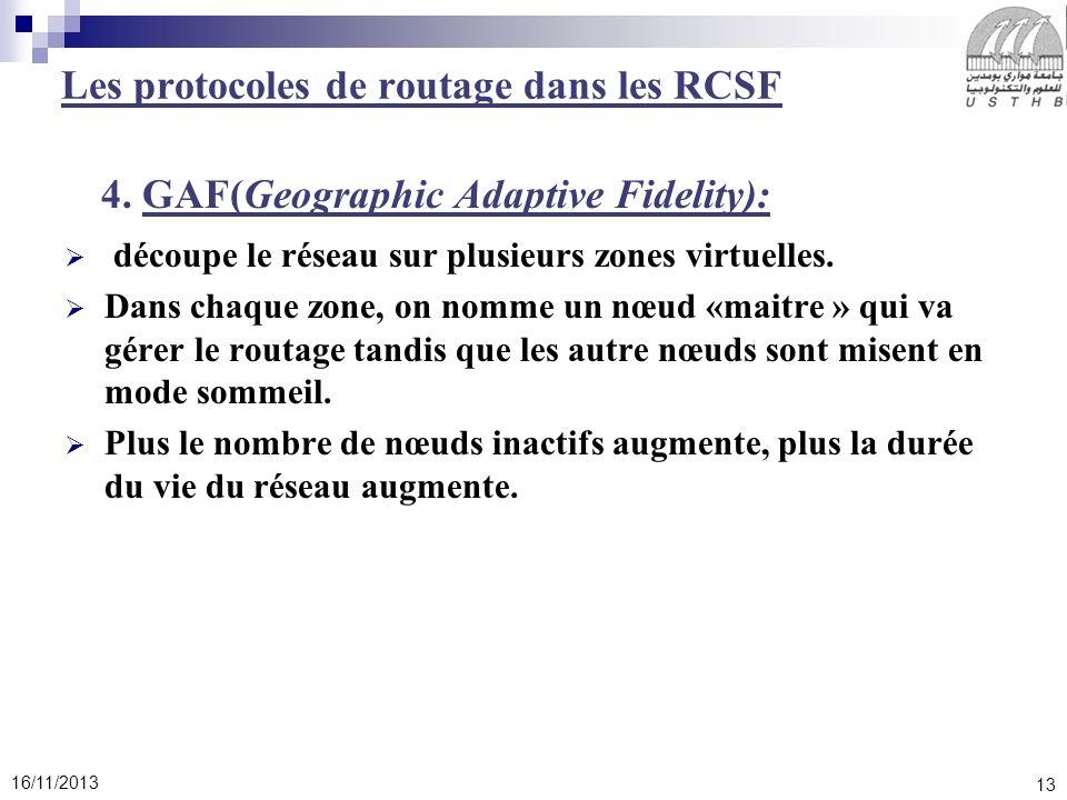 13 16/11/2013 4. GAF(Geographic Adaptive Fidelity): découpe le réseau sur plusieurs zones virtuelles. Dans chaque zone, on nomme un nœud «maitre » qui