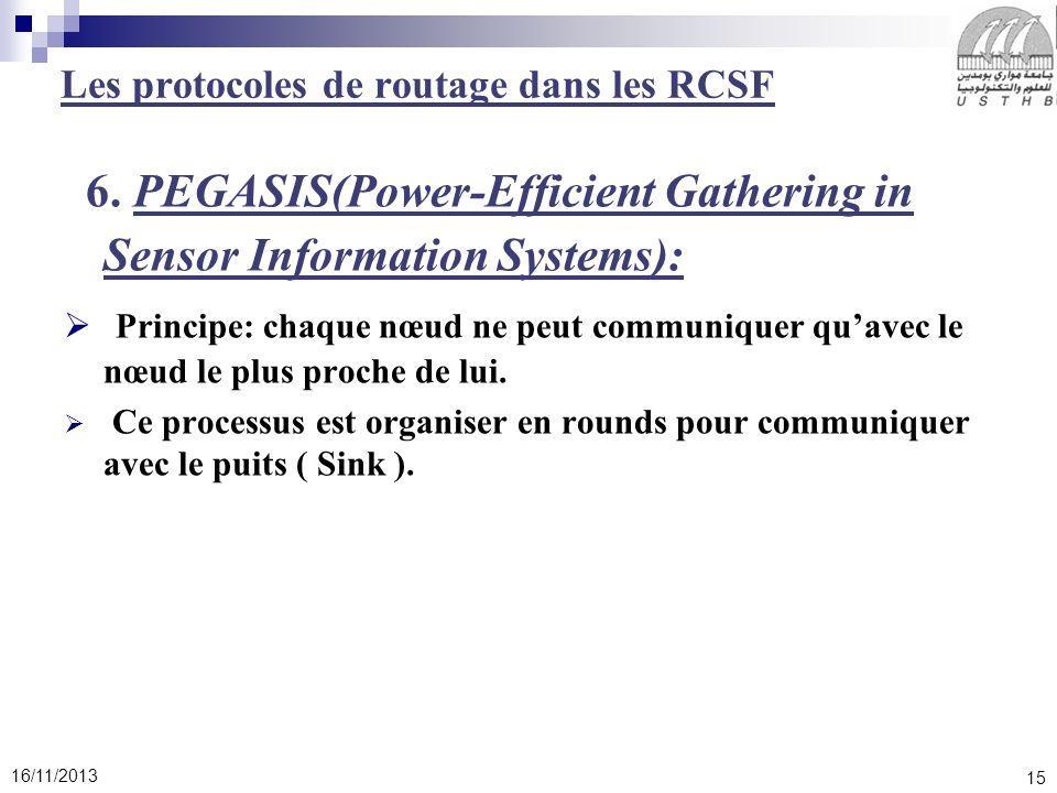15 16/11/2013 6. PEGASIS(Power-Efficient Gathering in Sensor Information Systems): Principe: chaque nœud ne peut communiquer quavec le nœud le plus pr