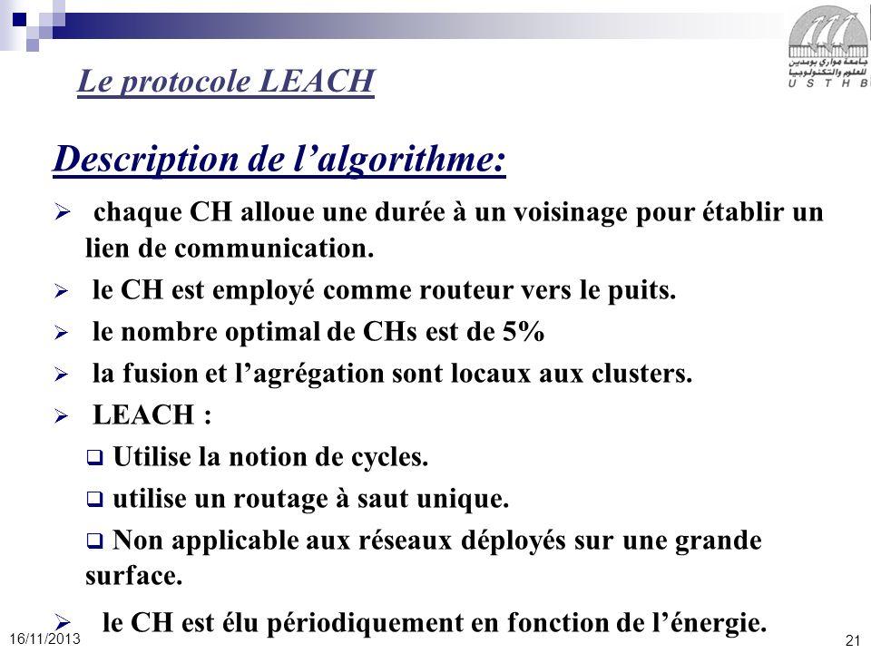 21 16/11/2013 Description de lalgorithme: chaque CH alloue une durée à un voisinage pour établir un lien de communication. le CH est employé comme rou