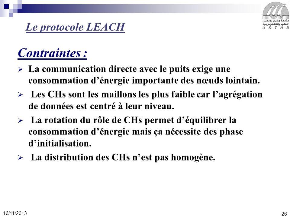 26 16/11/2013 Contraintes : La communication directe avec le puits exige une consommation dénergie importante des nœuds lointain. Les CHs sont les mai