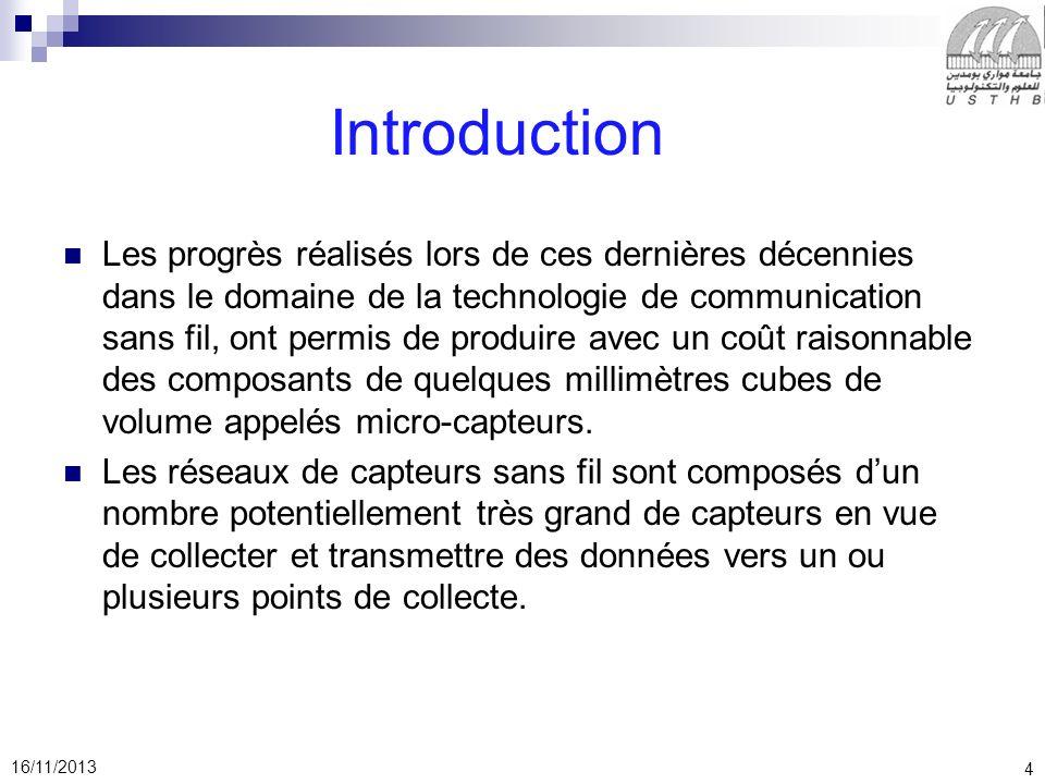 4 16/11/2013 Introduction Les progrès réalisés lors de ces dernières décennies dans le domaine de la technologie de communication sans fil, ont permis