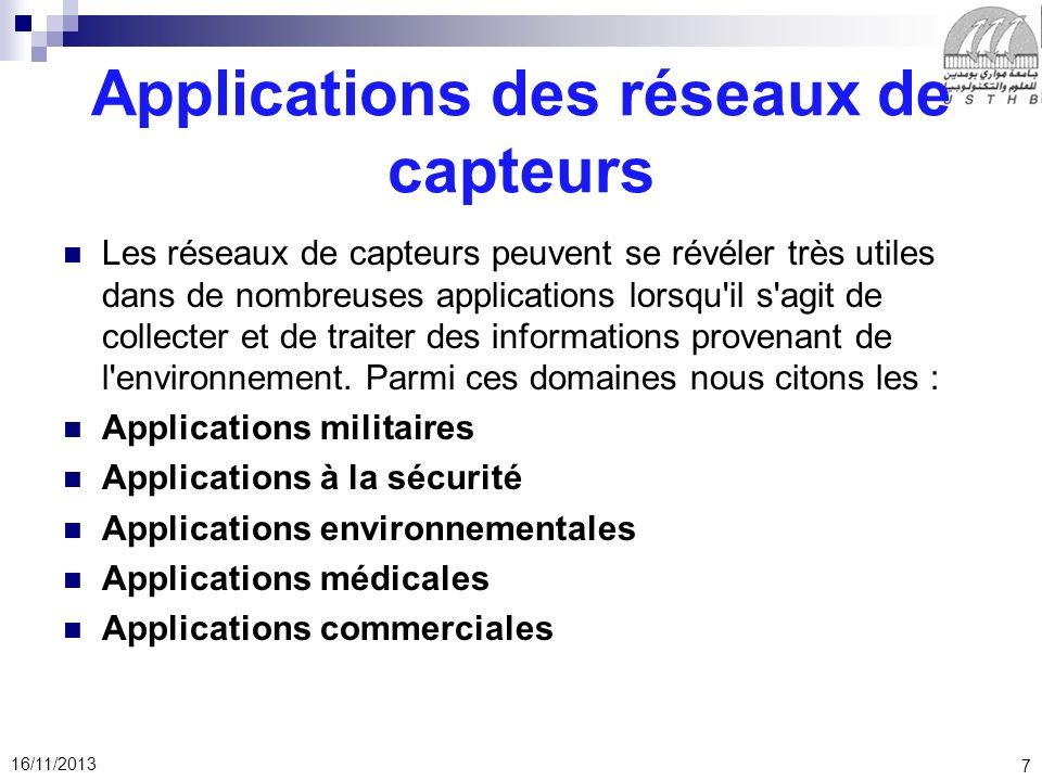 7 16/11/2013 Applications des réseaux de capteurs Les réseaux de capteurs peuvent se révéler très utiles dans de nombreuses applications lorsqu'il s'a