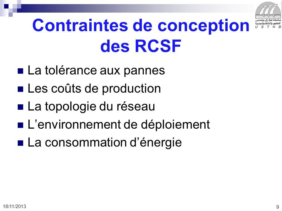 9 16/11/2013 Contraintes de conception des RCSF La tolérance aux pannes Les coûts de production La topologie du réseau Lenvironnement de déploiement L