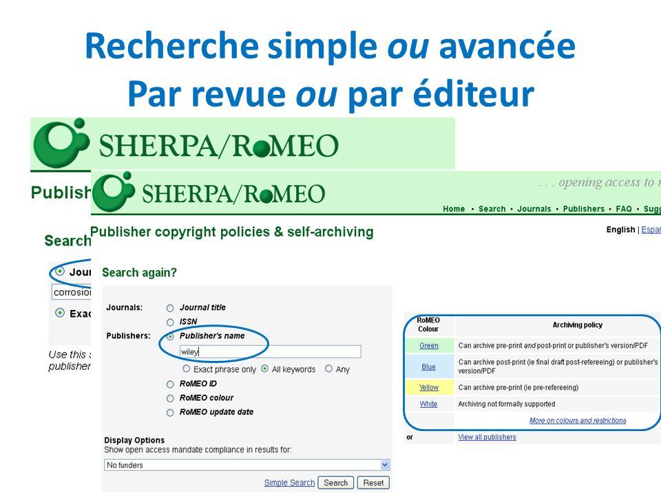 Recherche simple ou avancée Par revue ou par éditeur