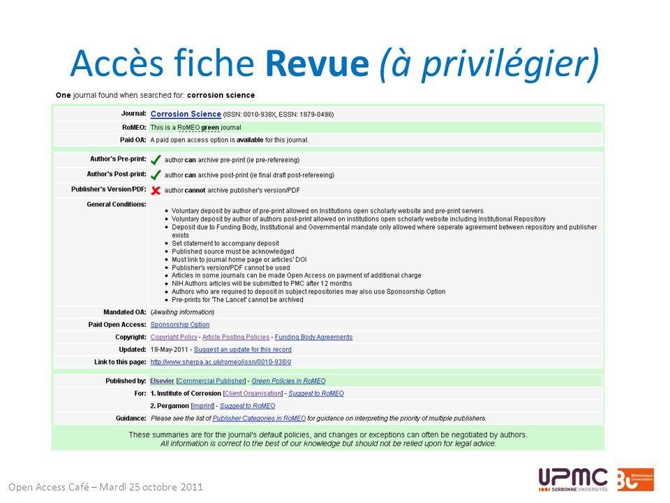 Accès fiche Revue (à privilégier) Open Access Café – Mardi 25 octobre 2011