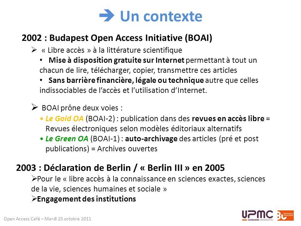 Résultat / fiche éditeur Open Access Café – Mardi 25 octobre 2011 Avec accès à la liste de ses revues