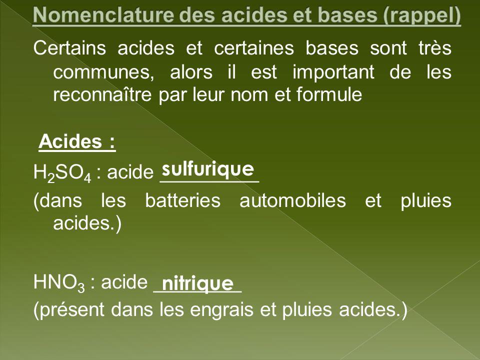Certains acides et certaines bases sont très communes, alors il est important de les reconnaître par leur nom et formule Acides : H 2 SO 4 : acide ___