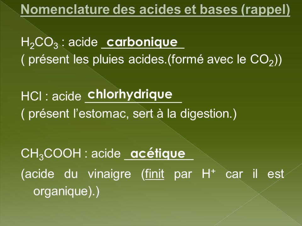 H 2 CO 3 : acide ____________ ( présent les pluies acides.(formé avec le CO 2 )) HCl : acide ______________ ( présent lestomac, sert à la digestion.)
