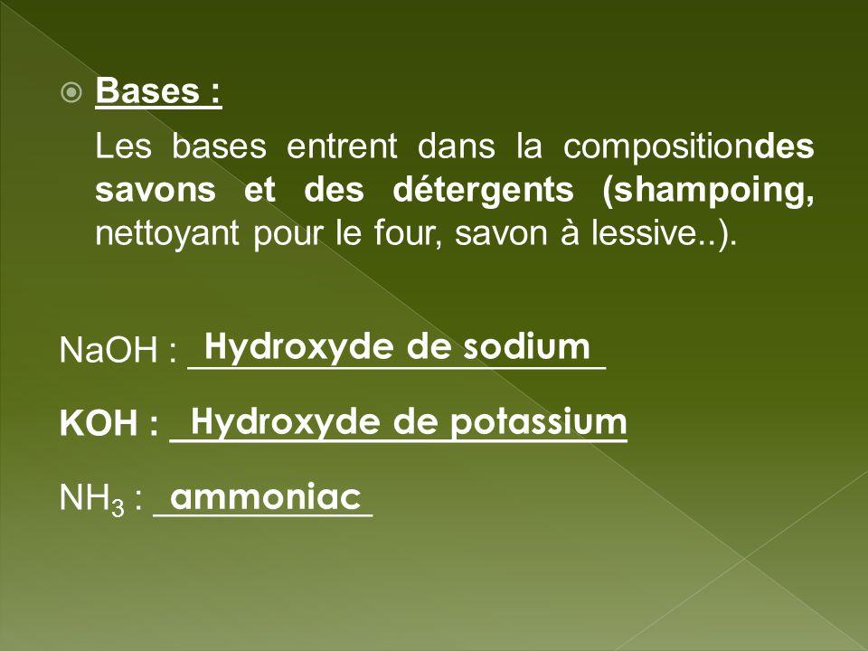Bases : Les bases entrent dans la compositiondes savons et des détergents (shampoing, nettoyant pour le four, savon à lessive..). NaOH : _____________