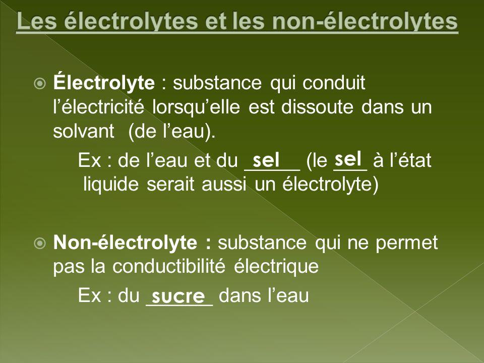 Électrolyte : substance qui conduit lélectricité lorsquelle est dissoute dans un solvant (de leau). Ex : de leau et du _____ (le ___ à létat liquide s