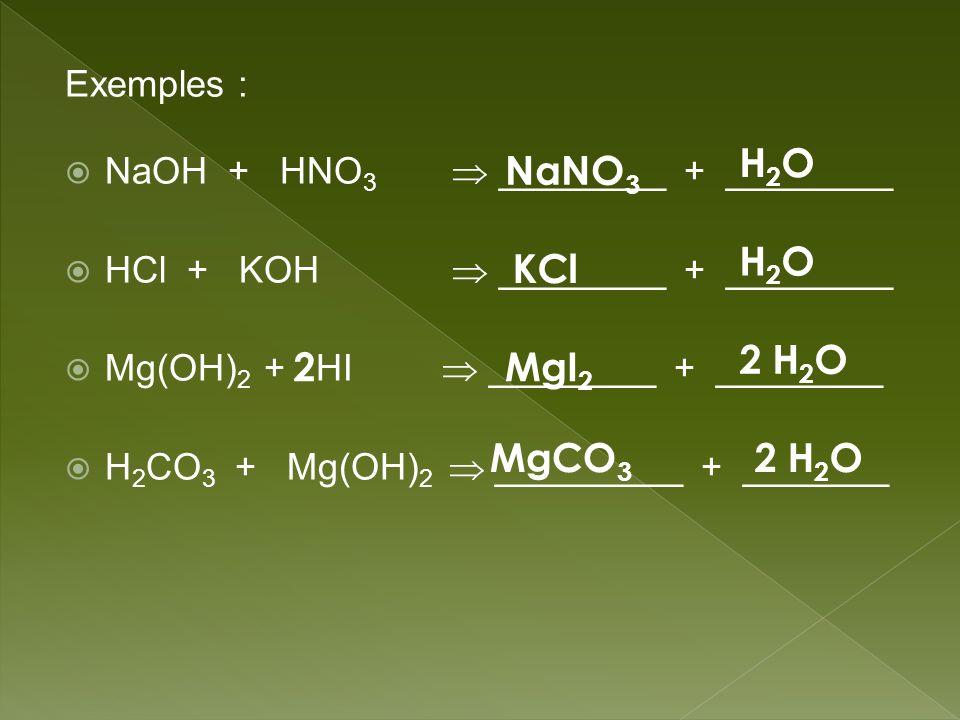Exemples : NaOH + HNO 3 ________ + ________ HCl + KOH ________ + ________ Mg(OH) 2 + HI ________ + ________ H 2 CO 3 + Mg(OH) 2 _________ + _______ Na