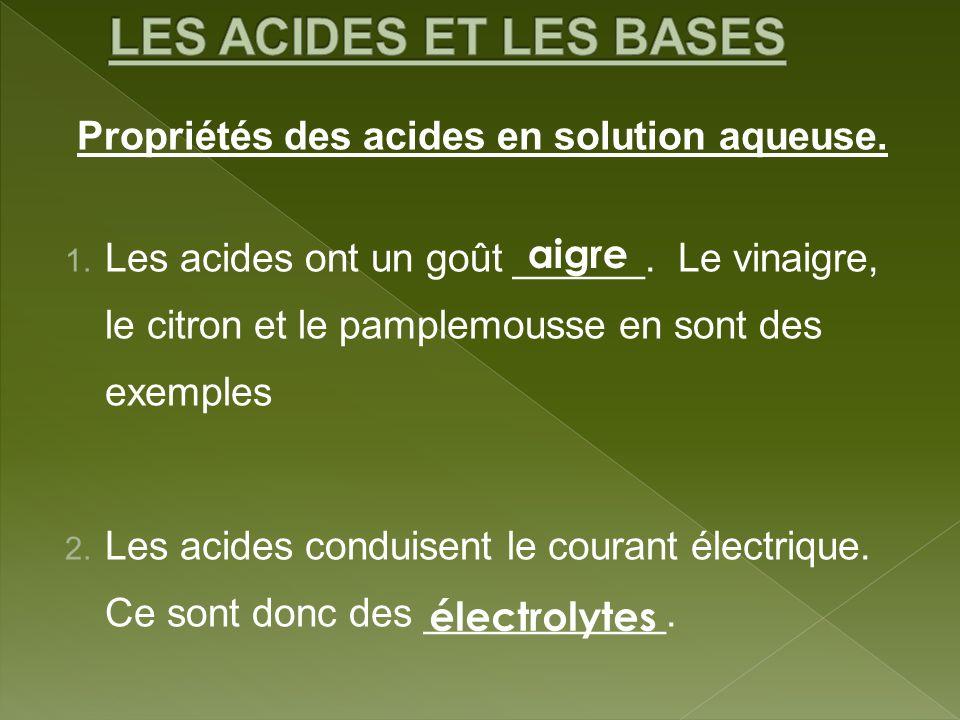 Propriétés des acides en solution aqueuse. 1. Les acides ont un goût ______. Le vinaigre, le citron et le pamplemousse en sont des exemples 2. Les aci