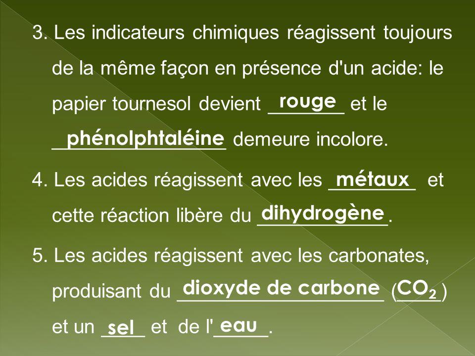 3. Les indicateurs chimiques réagissent toujours de la même façon en présence d'un acide: le papier tournesol devient _______ et le ________________ d