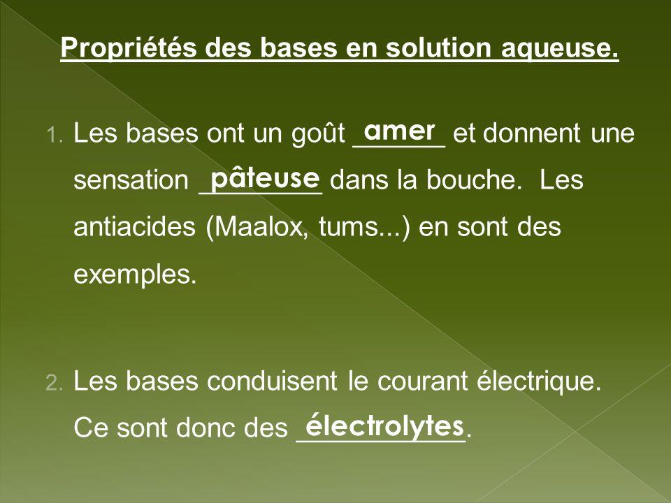 Propriétés des bases en solution aqueuse. 1. Les bases ont un goût ______ et donnent une sensation ________ dans la bouche. Les antiacides (Maalox, tu