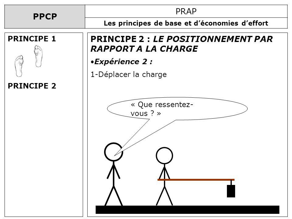 PPCP PRAP Les principes de base et déconomies deffort PRINCIPE 2 : LE POSITIONNEMENT PAR RAPPORT A LA CHARGE Expérience 2 : 1-Déplacer la charge « Que