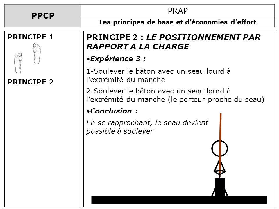 PPCP PRAP Les principes de base et déconomies deffort PRINCIPE 2 : LE POSITIONNEMENT PAR RAPPORT A LA CHARGE Expérience 3 : 1-Soulever le bâton avec u