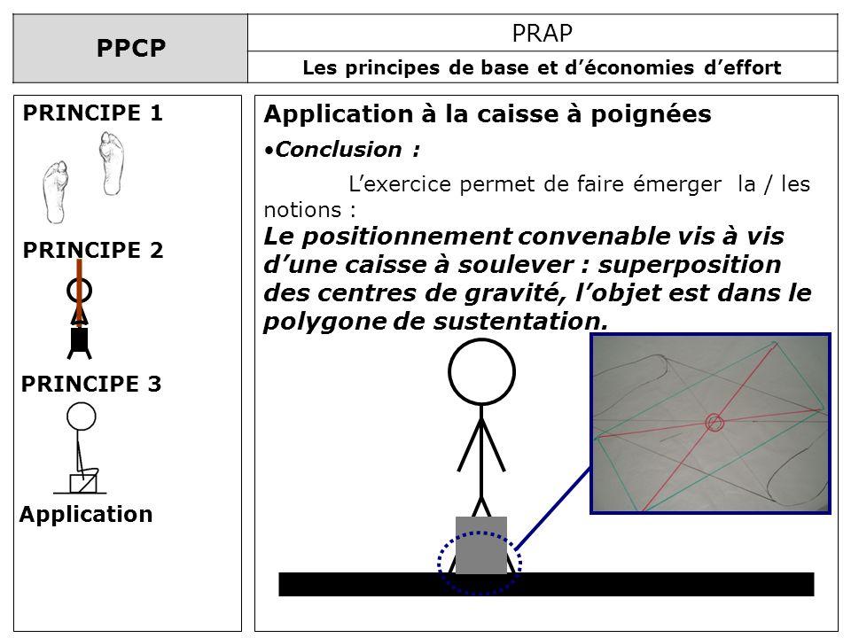 PPCP PRAP Les principes de base et déconomies deffort Application à la caisse à poignées PRINCIPE 1 PRINCIPE 2 PRINCIPE 3 Application Conclusion : Lex