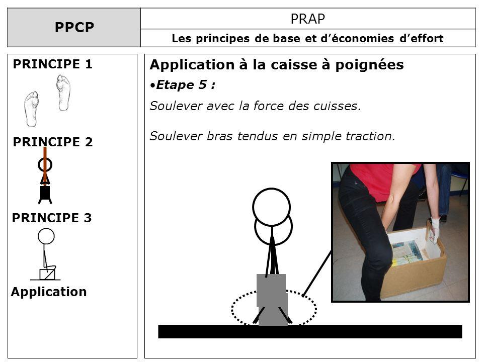 PPCP PRAP Les principes de base et déconomies deffort Application à la caisse à poignées PRINCIPE 1 PRINCIPE 2 PRINCIPE 3 Application Etape 5 : Soulev