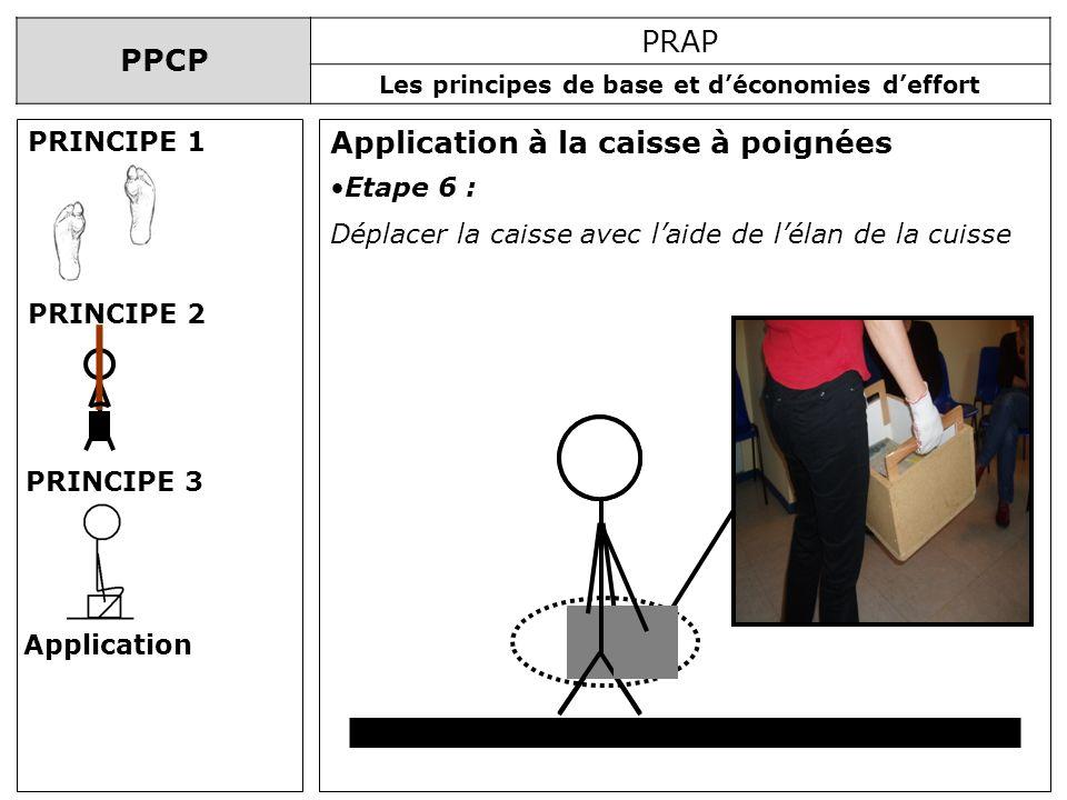 PPCP PRAP Les principes de base et déconomies deffort Application à la caisse à poignées PRINCIPE 1 PRINCIPE 2 PRINCIPE 3 Application Etape 6 : Déplac