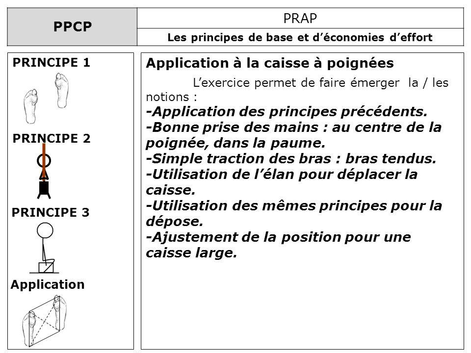 PPCP PRAP Les principes de base et déconomies deffort Application à la caisse à poignées PRINCIPE 1 PRINCIPE 2 PRINCIPE 3 Application Lexercice permet